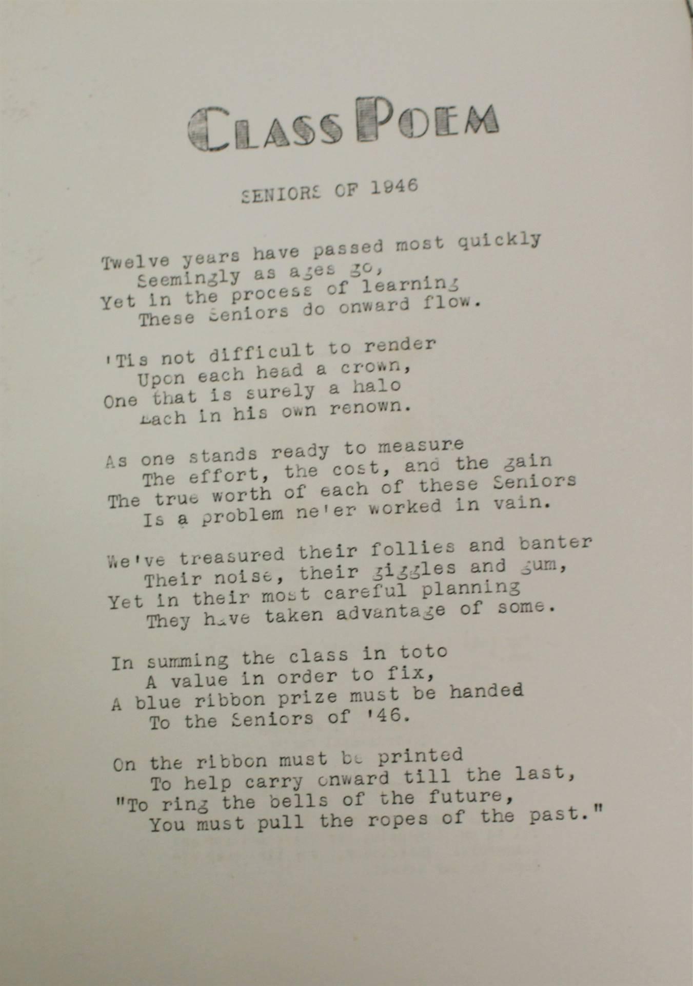 1946 Class Poem