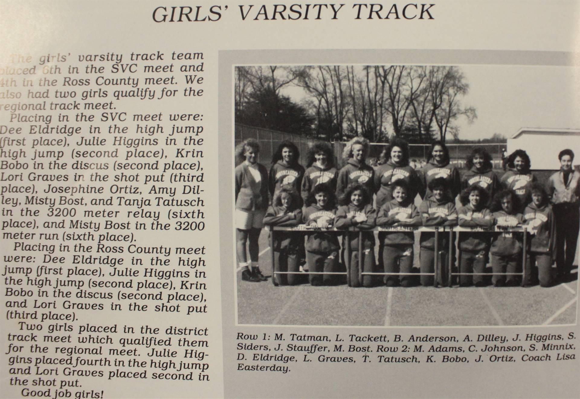1990 Girls' Varsity Track