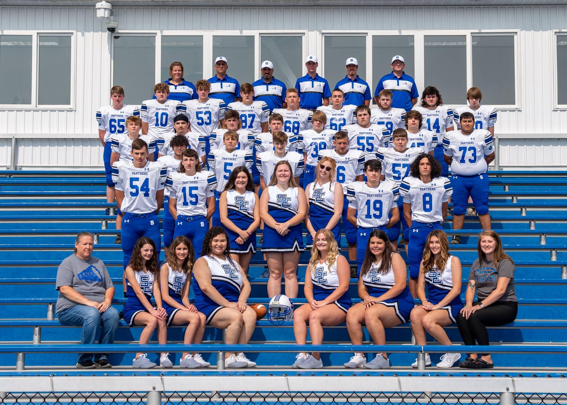 Football team and cheerleaders